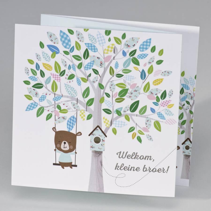 Buromac Pirouette Geboortekaart drieluik schommelende beer aan boom - jongen (507083)