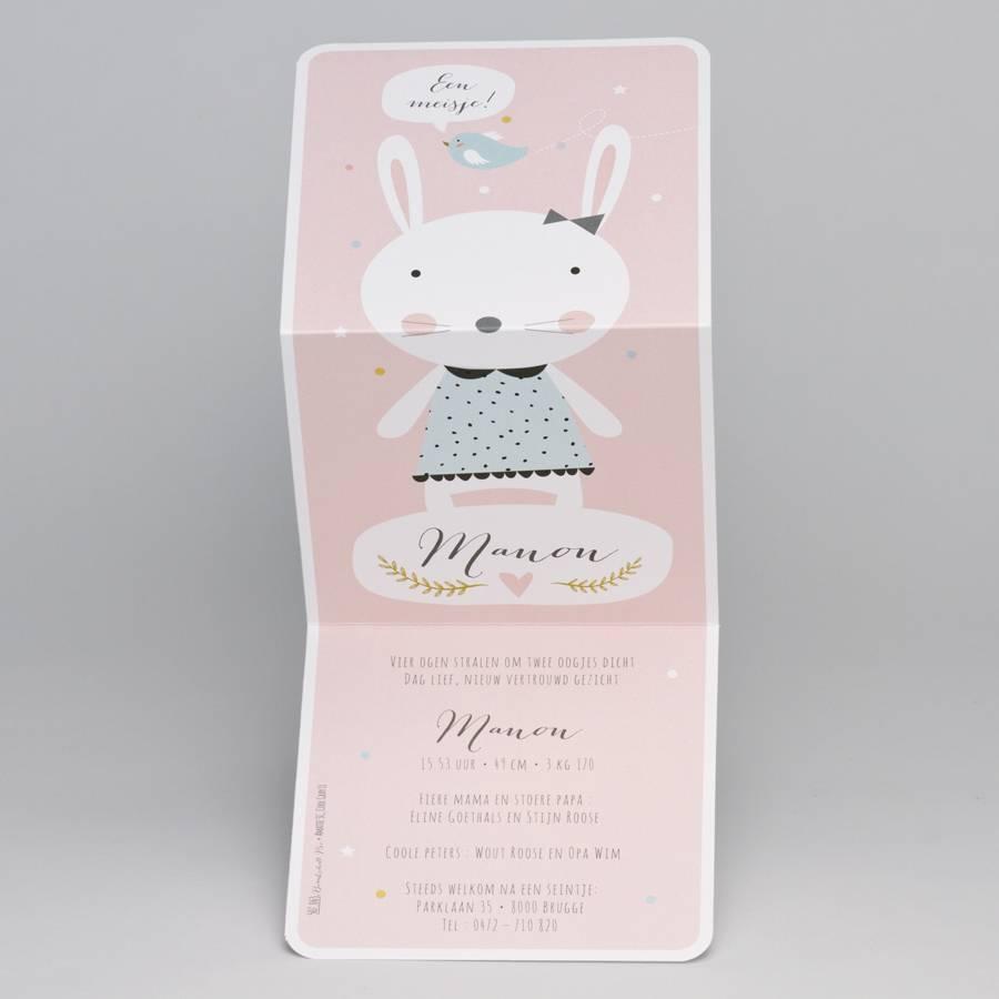Buromac Pirouette Geboortekaart drieluik konijntje met mintgroen jurkje (507063)