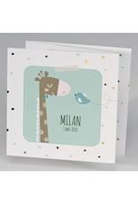Buromac Pirouette Geboortekaart drieluik giraf met vrolijke stipjes - mint (507043)