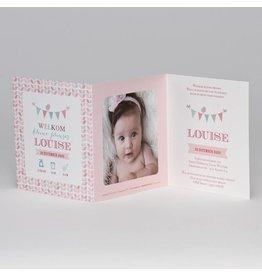 Buromac Pirouette Geboortekaart drieluik fotokaart met kleurrijke vlaggenlijn en bloempatroon