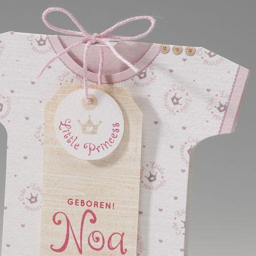 Belarto Welcome Wonder Geboortekaart in de vorm van een rompertje met roze kroontjes (715005)