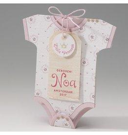 Belarto Welcome Wonder 2017 Geboortekaart in de vorm van een rompertje met roze kroontjes