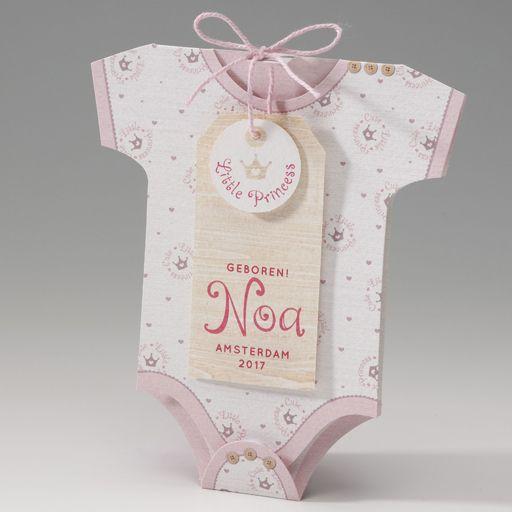 Belarto Welcome Wonder 2017 Geboortekaart in de vorm van een rompertje met roze kroontjes (715005)
