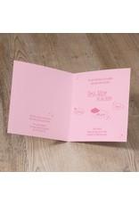 Belarto Welcome Wonder Geboortekaart met ooievaar in suede inkt, hartje en wolkje (717030)