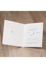 Belarto Welcome Wonder Geboortekaart met baby op de maan blauw op geschept papier (717046B)