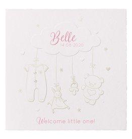 Belarto Welcome Wonder Geboortekaart met voelbare illustratie op geschept papier