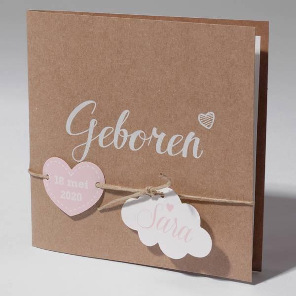 Familycards Klein Wonder Geboortekaartje van eco-papier met wolkje en hartje (63572)