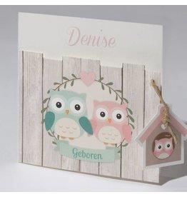 Familycards Klein Wonder Geboortekaartje met twee uiltjes