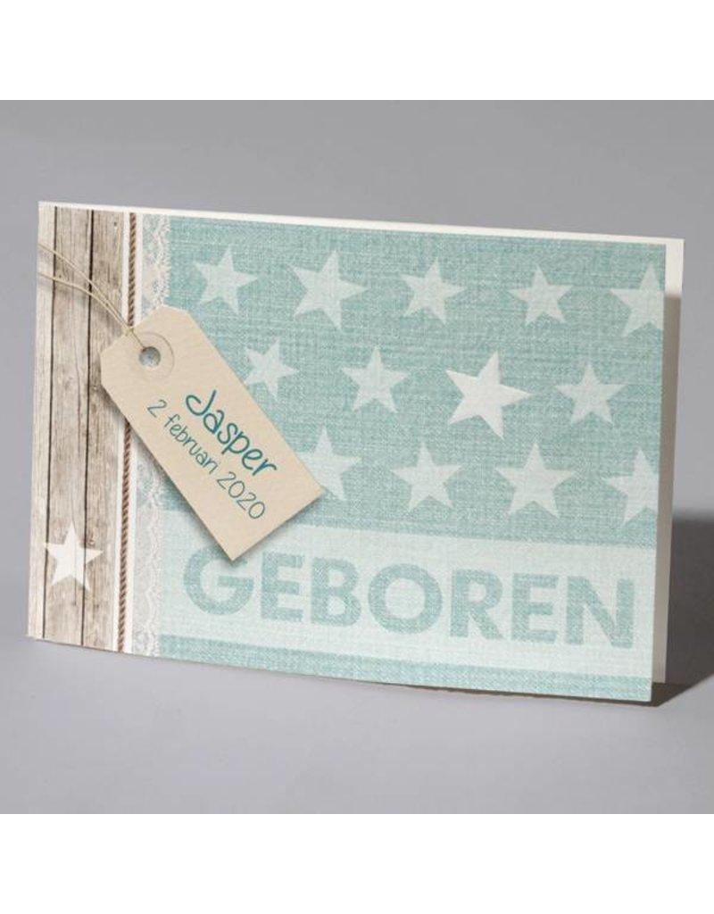Familycards Klein Wonder Geboortekaartje 'trendy sterren' (63688)
