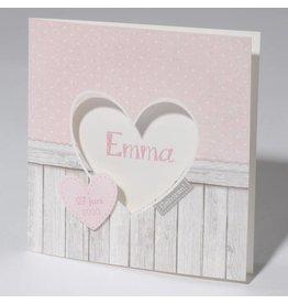 Familycards Klein Wonder Geboortekaartje met hartje en steigerhout
