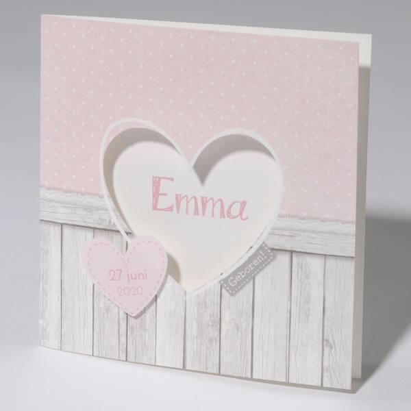 Familycards Klein Wonder Geboortekaartje met hartje en steigerhout (63715)