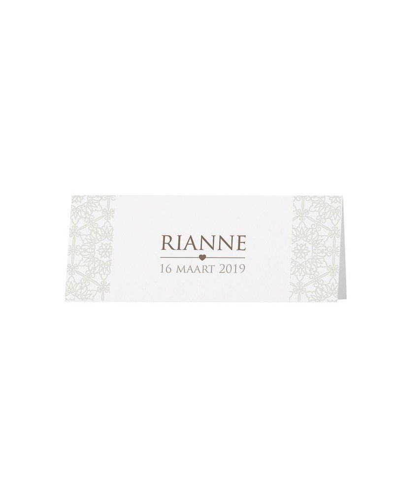 Belarto Bohemian Wedding Tafelkaartje bij trouwkaart pochette in parelmoer papier met voelbare inkt en lintje (727735)
