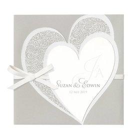 Belarto Bohemian Wedding Trouwkaart drieluik met voelbare inkt en bijpassend lederen koordje