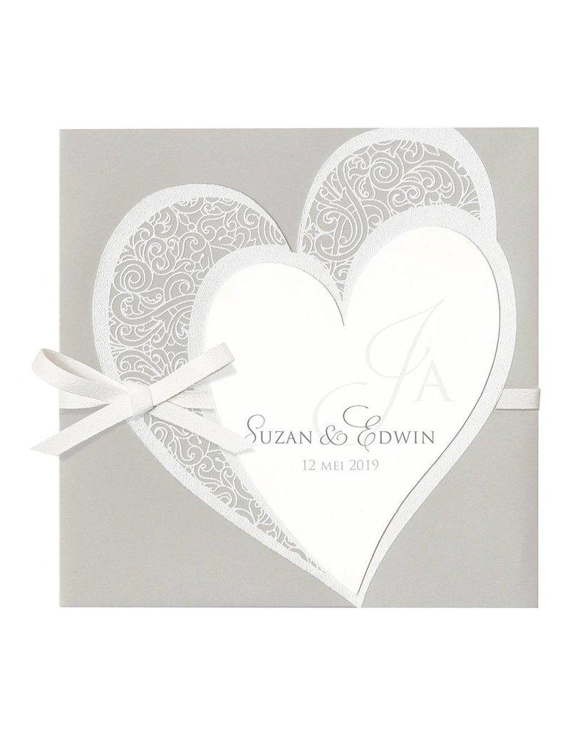 Belarto Bohemian Wedding Trouwkaart drieluik met voelbare inkt en bijpassend lederen koordje (727041)