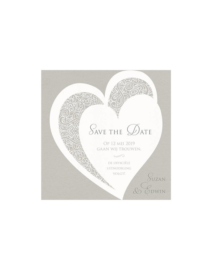 Belarto Bohemian Wedding Save the date bij trouwkaart met voelbare inkt en koordje (727541)