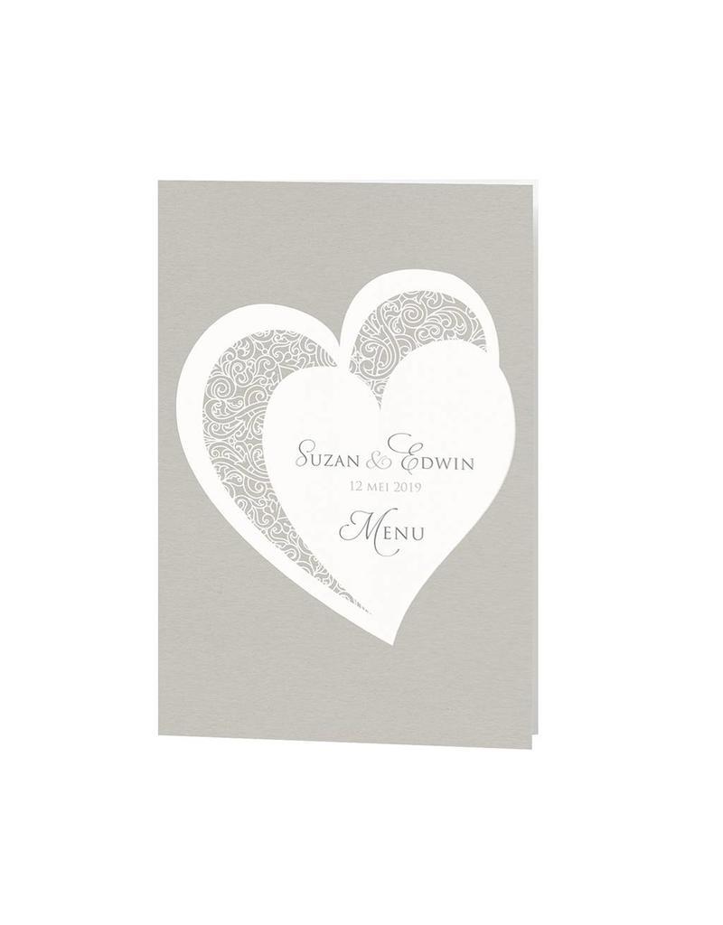 Belarto Bohemian Wedding Menukaart bij trouwkaart met voelbare inkt en bijpassend koordje (727641)