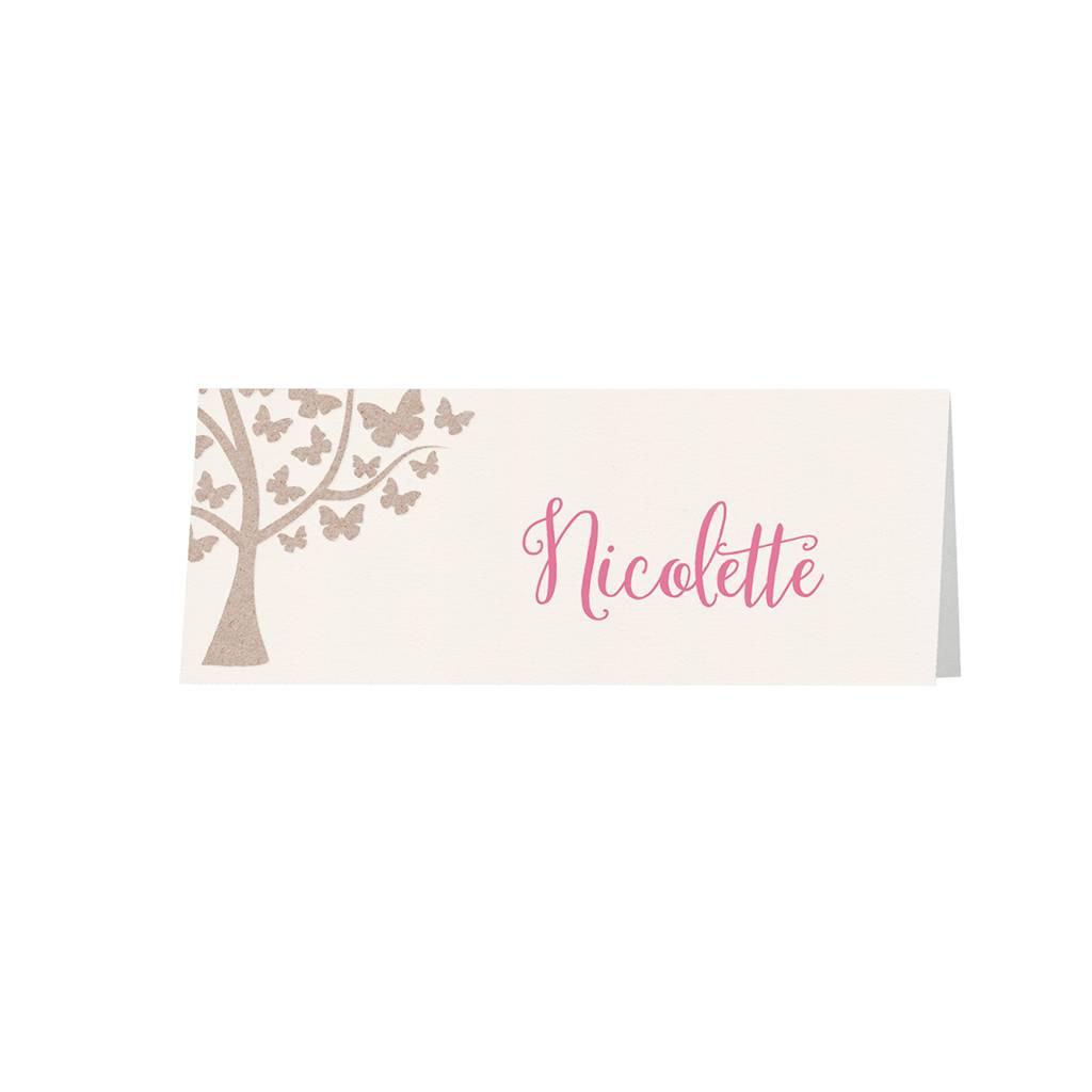 Belarto Bohemian Wedding Tafelkaartje bij trouwkaart met vlindertjes en schattig bankje op trendy kraftpapier (727740)