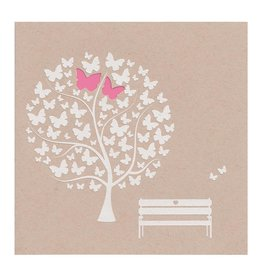 Belarto Bohemian Wedding Trouwkaart met vlindertjes en lief bankje op trendy kraftpapier