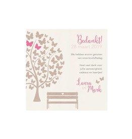 Belarto Bohemian Wedding Bedankkaart bij trouwkaart met vlindertjes en bankje