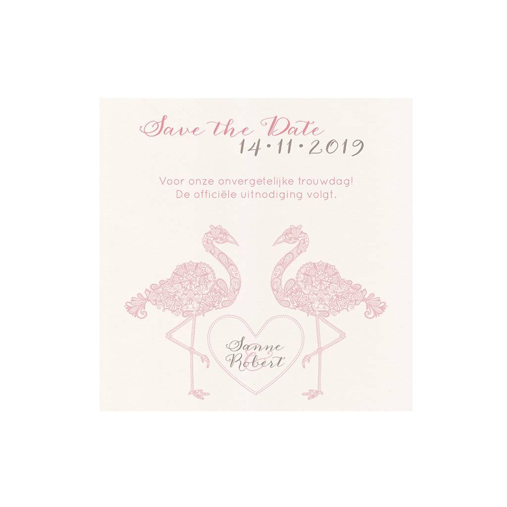 Belarto Bohemian Wedding Save the date bij trouwkaart met flamingo's en uitgesneden hart (727537)