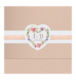 Belarto Bohemian Wedding Trouwkaart met wikkel en bloemmotief en lint