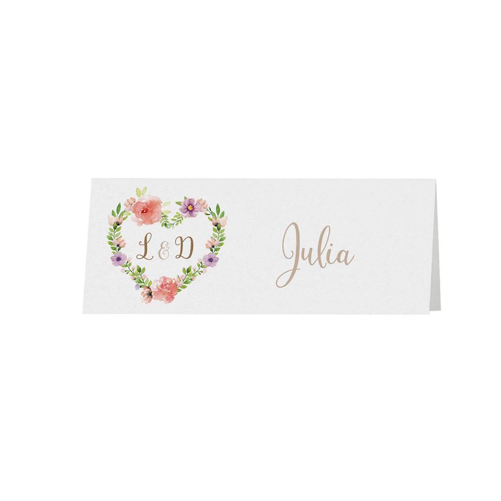 Belarto Bohemian Wedding Tafelkaartje bij trouwkaart met wikkel en bloemmotief (727736)