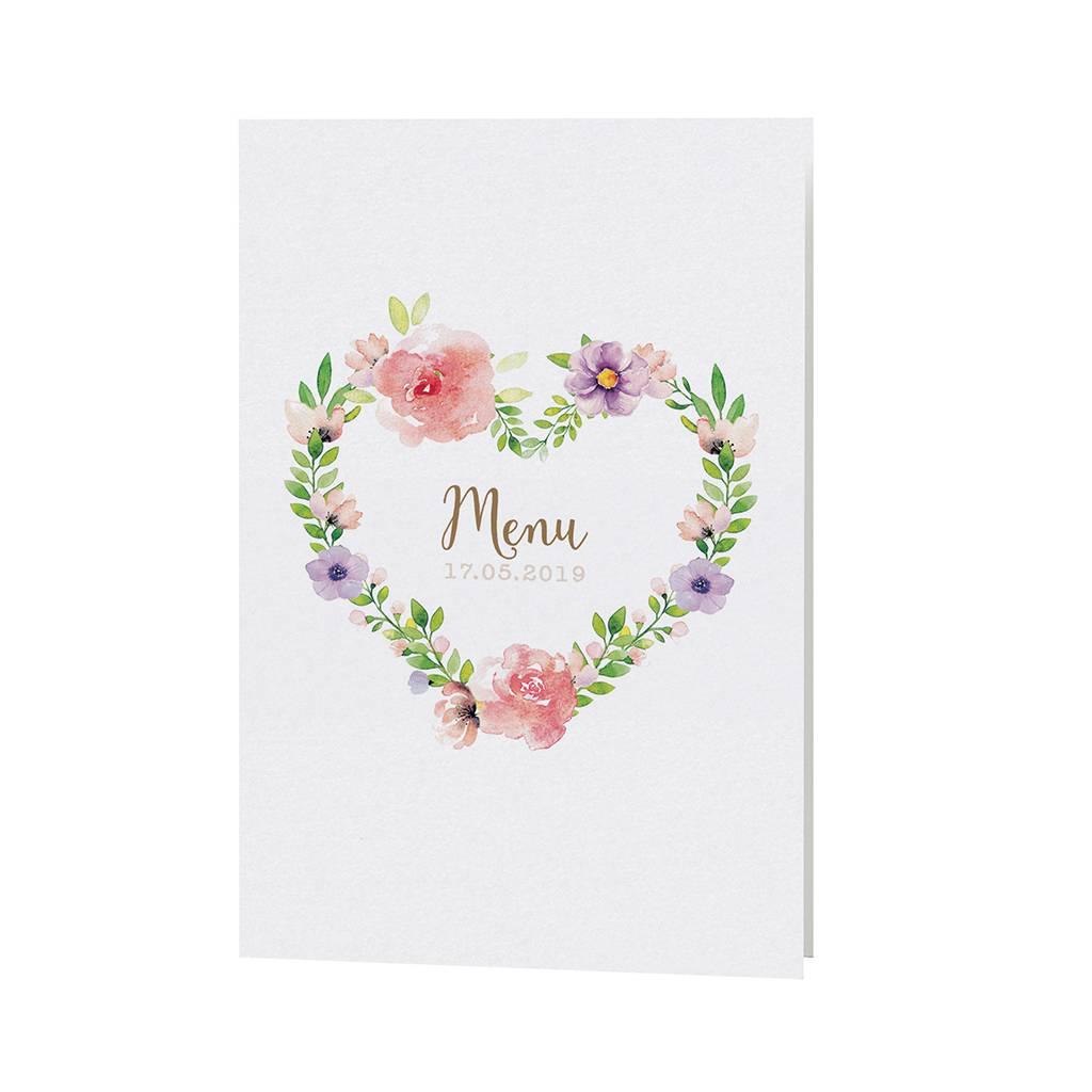 Belarto Bohemian Wedding Menukaart bij trouwkaart met wikkel en bloemmotief (727636)