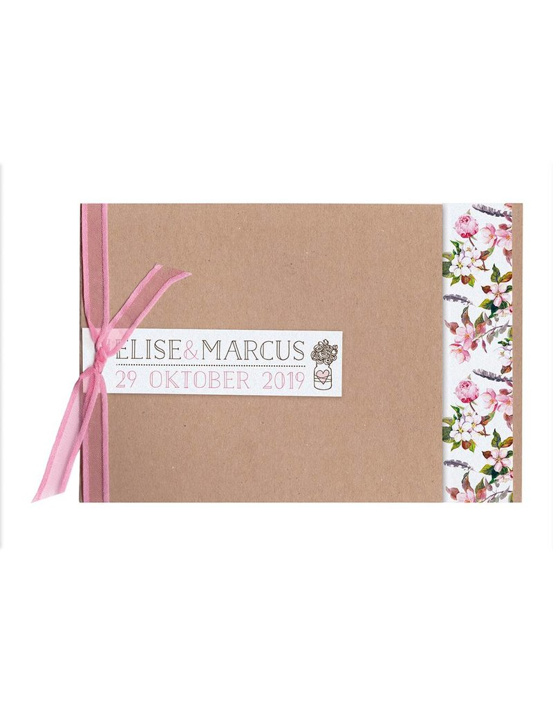 Belarto Bohemian Wedding Trouwkaart met bloemmotief en organza lintje (727009)