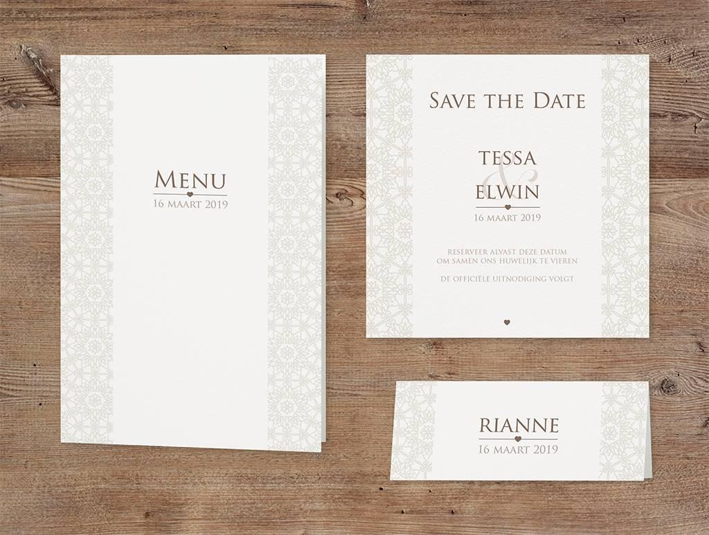 Belarto Bohemian Wedding Trouwkaart als pochette in parelmoer, voelbare inkt en lintje (727035)