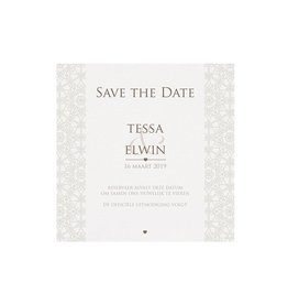 Belarto Bohemian Wedding Save the date bij trouwkaart pochette trouwkaart in parelmoer