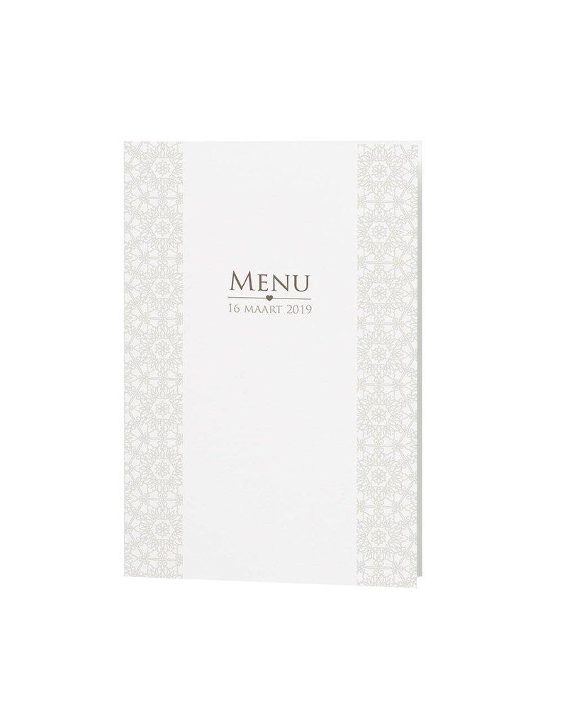 Belarto Bohemian Wedding Menukaart bij trouwkaart pochette in parelmoer papier met voelbare inkt (727635)