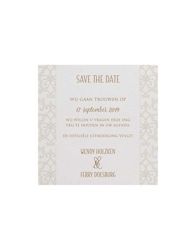 Belarto Bohemian Wedding Save the date bij trouwkaart met parelmoer band en veertje (727529)