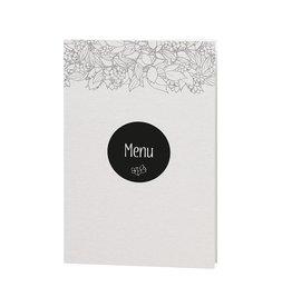 Belarto Bohemian Wedding Menukaart bij trouwkaart in parelmoer papier met wikkel met bloemenmotief