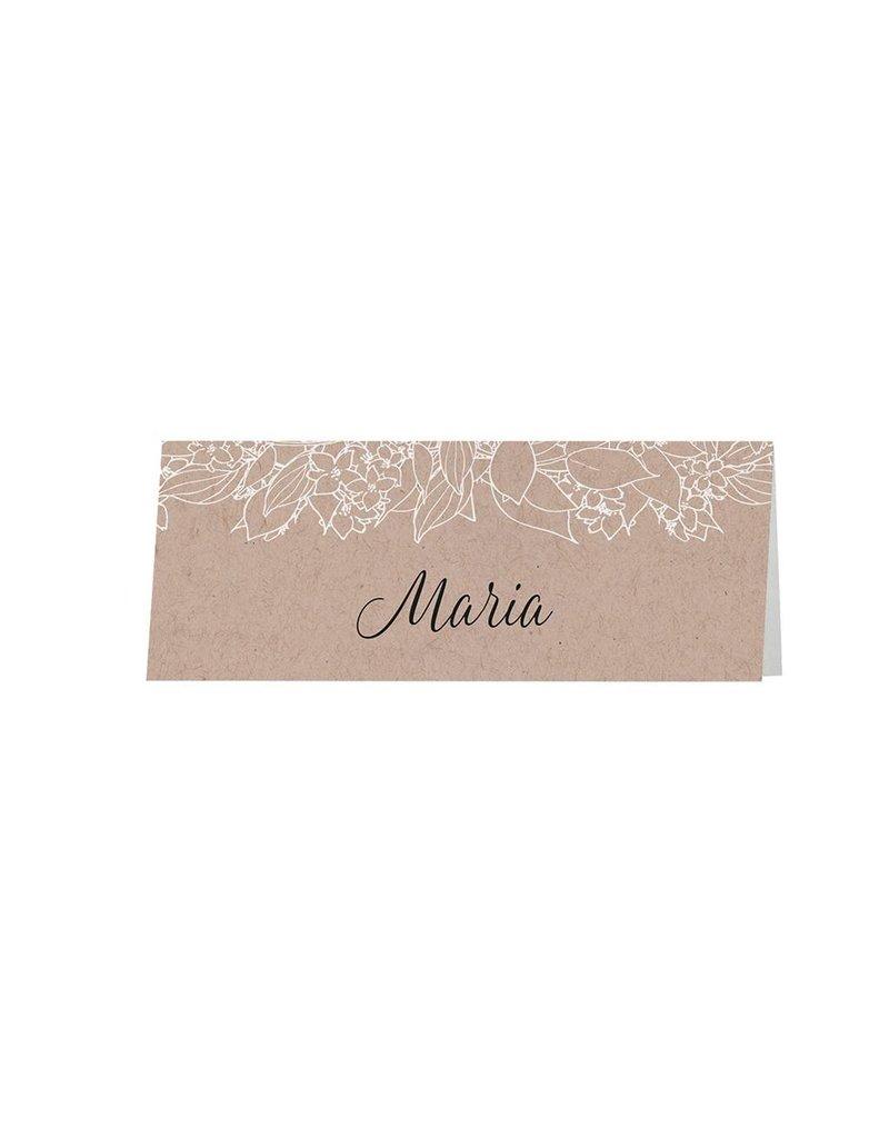 Belarto Bohemian Wedding Tafelkaartje bij trouwkaart met krafthoesje en touw met label (727724)
