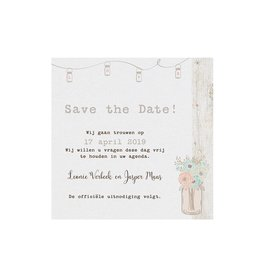 Belarto Bohemian Wedding Save the date bij trouwkaart in vintage look met steigerhout