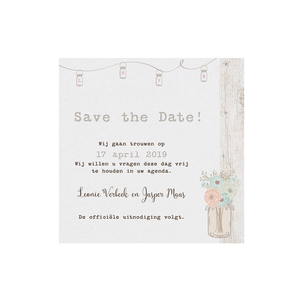 Belarto Bohemian Wedding Save the date bij trouwkaart in vintage look met steigerhout (727533)