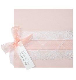 Belarto Bohemian Wedding Trouwkaart in zalmkleur met kant en satijnen lint