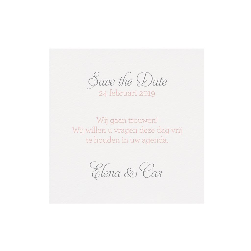 Belarto Bohemian Wedding Save the date bij trouwkaart in zalmkleur met kant en satijnen lint (727521)