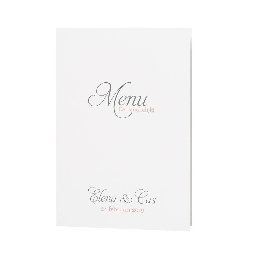 Belarto Bohemian Wedding Menukaart bij trouwkaart in zalmkleur met kant en satijnen lint (727621)