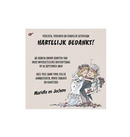 Belarto Bohemian Wedding Bedankkaart bij trouwkaart op structuurpapier met vrolijk bruidspaar