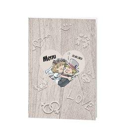 Belarto Bohemian Wedding Menukaart bij trouwkaart op structuurpapier met vrolijk bruidspaar