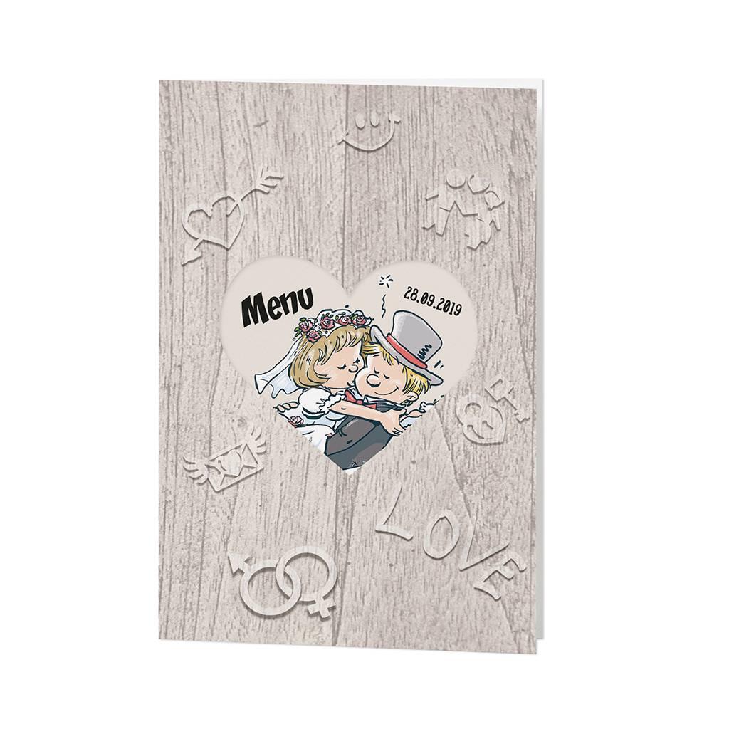 Belarto Bohemian Wedding Menukaart bij trouwkaart op structuurpapier met vrolijk bruidspaar (727620)