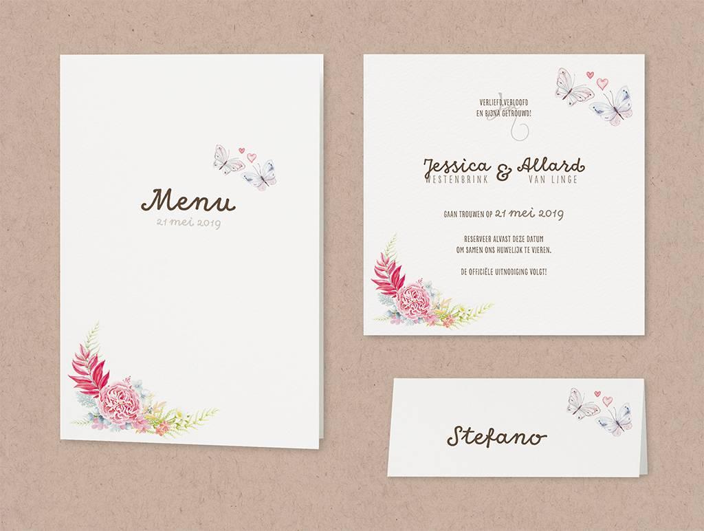 Belarto Bohemian Wedding Trouwkaart vintage met kant en jute lintje en roze strikje (727030)