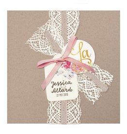 Belarto Bohemian Wedding Trouwkaart vintage met kant en jute lintje en roze strikje