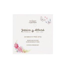 Belarto Bohemian Wedding Bedankkaart bij trouwkaart in vintage look met kant en jute