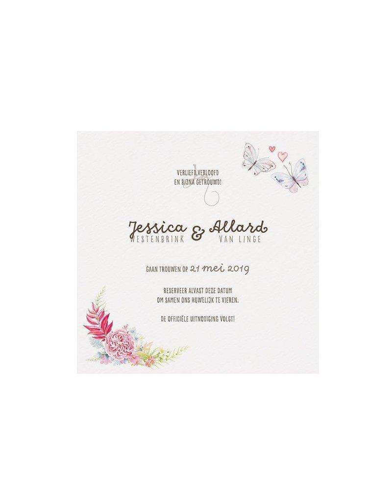 Belarto Bohemian Wedding Bedankkaart bij trouwkaart in vintage look met kant en jute (727530)