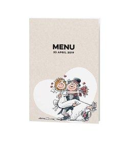 Belarto Bohemian Wedding Menukaart bij trouwkaart met vrolijke illustraties op structuurpapier