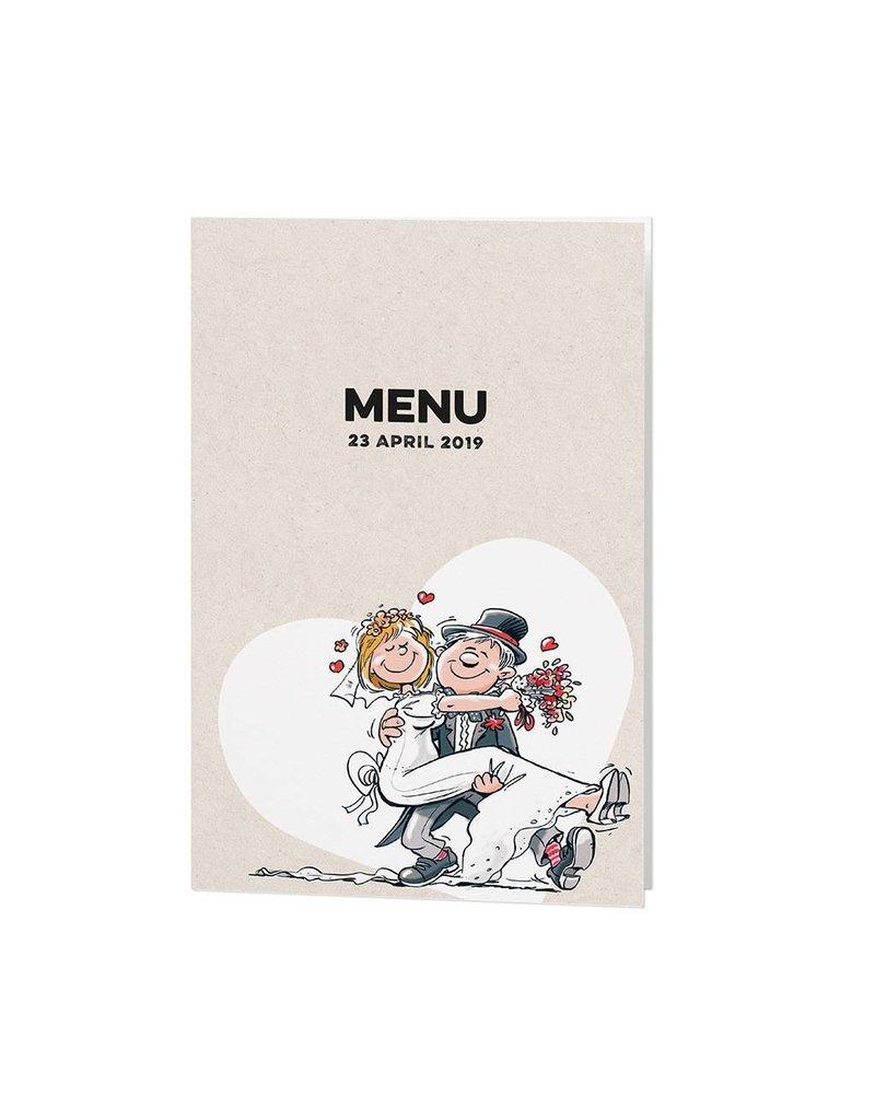 Belarto Bohemian Wedding Menukaart bij trouwkaart met vrolijke illustraties op structuurpapier (727619)