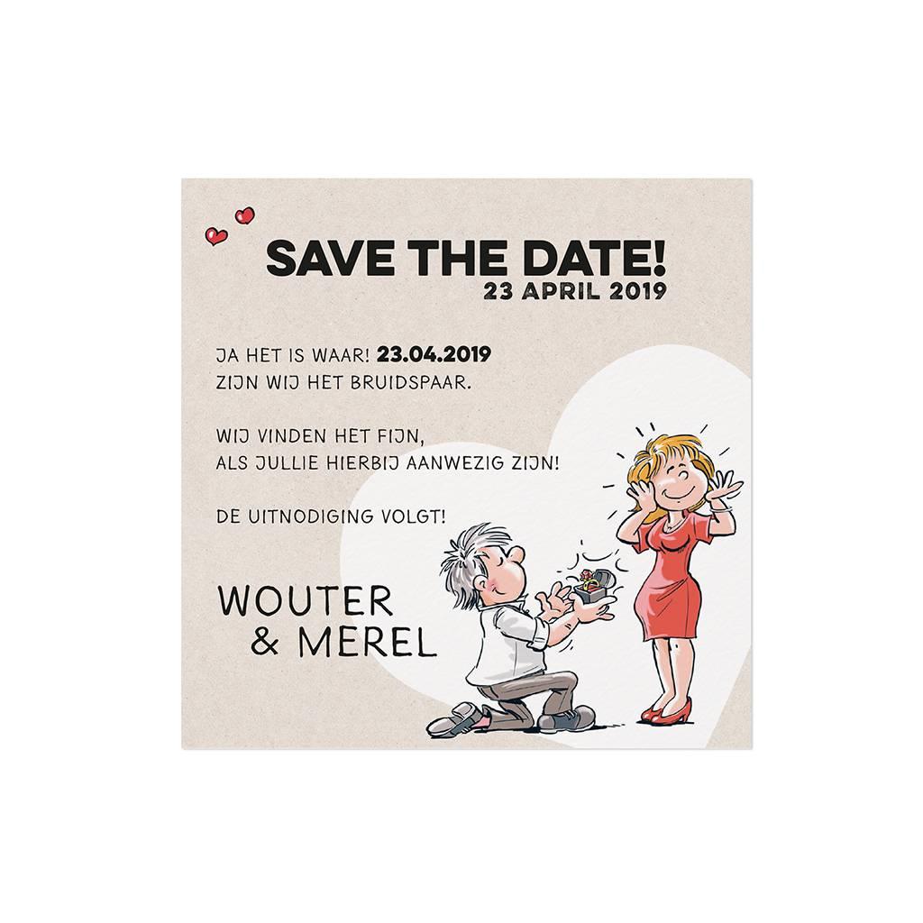 Belarto Bohemian Wedding Save the date bij trouwkaart met vrolijke illustraties op structuurpapier (727519)