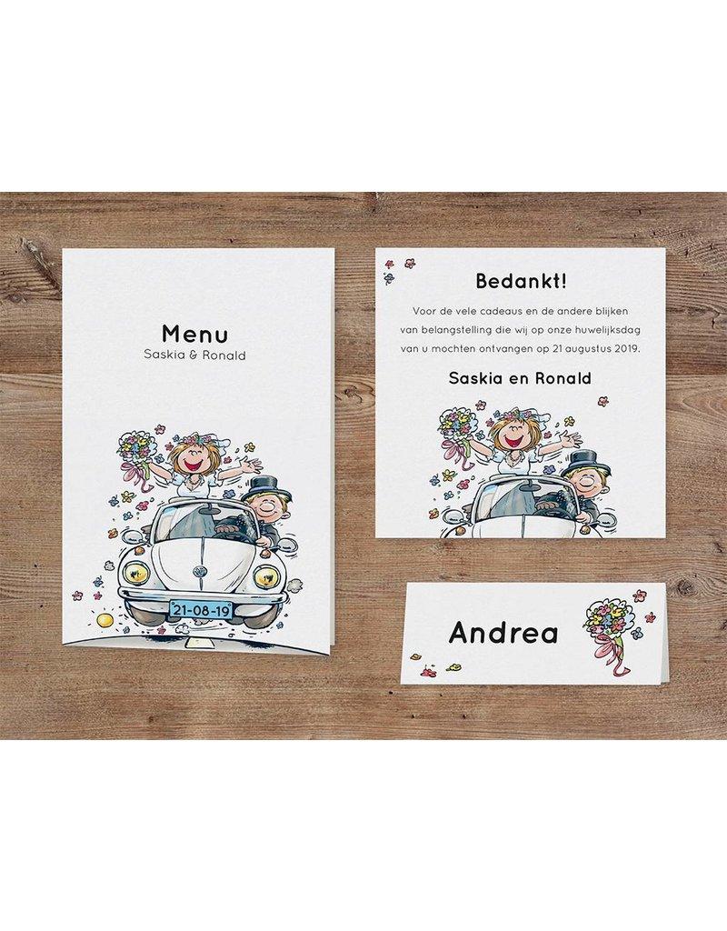 Belarto Bohemian Wedding Trouwkaart uitklap met bruidspaar in kever (727018)